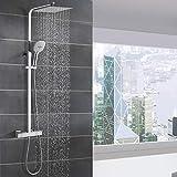 WOOHSE Duschsystem mit Thermostat Regendusche Duschset...